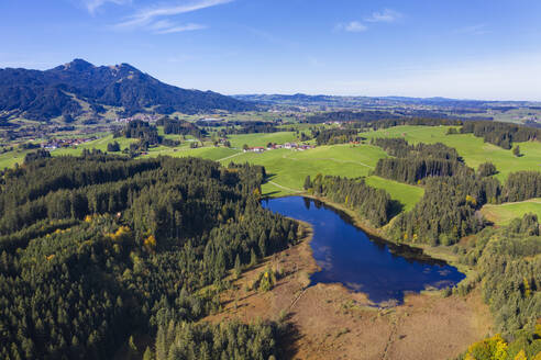 Germany, Bavaria, Eisenberg, Aerial view of blueSchlossweiher lake surrounded by green forest trees - SIEF09355