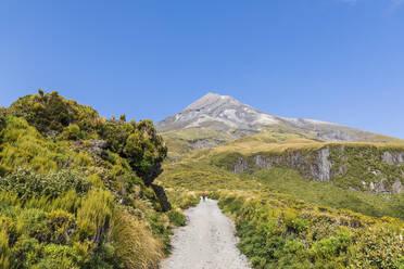 New Zealand, Dirt road toward Mount Taranaki volcano in spring - FOF11309