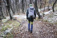 Man hiking in the autumn forest, Italian Alps, Como, Lombardy, Italy - MCVF00103