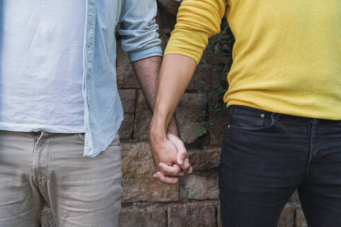 Crop view of gay couple hand in hand - AFVF04329