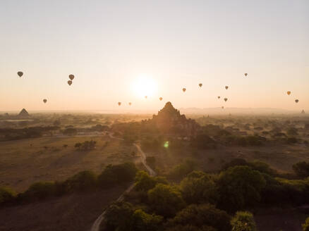 Aerial view of hot balloons flying over Bagan temples in Myanmar. - AAEF05769