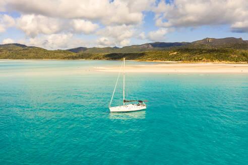 Aerial view of sail boat near whitsundays beach in Australia. - AAEF05838