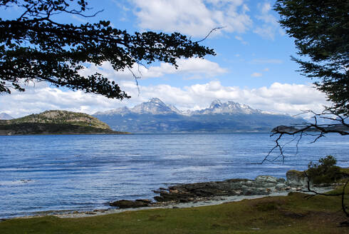 View of a lake between the mountains in the Patagonia Argentina - CAVF69460