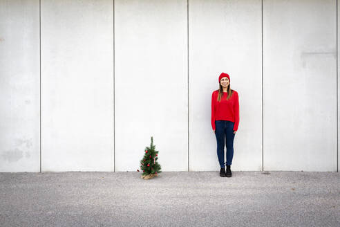Woman wearing red pullover and wolly hat, holding artificial Christmas tree in front of a wall - HMEF00687