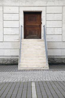Exterior stair to wooden door, Berlin, Germany - JMF00457