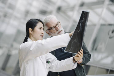 Female doctor discussing x-ray with senior patient - JOSF03990