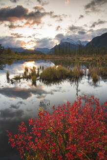 Sunrise at Vermillion Lakes with Mount Rundle in autumn, Banff National Park, UNESCO World Heritage Site, Alberta, Rocky Mountains, Canada, North America - RHPLF13119