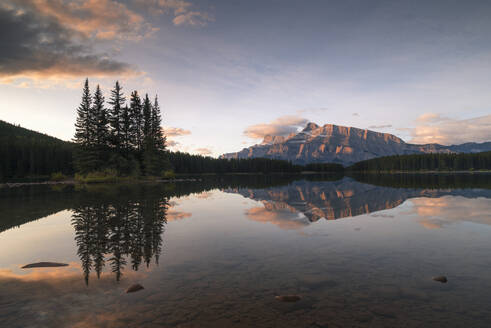 Sunrise at Two Jack Lake with Mount Rundle on the horizon, Banff National Park, UNESCO World Heritage Site, Alberta, Rocky Mountains, Canada, North America - RHPLF13128