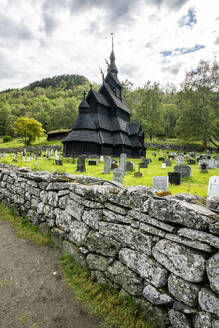 Surrounding stone walls of Borgund Stave Church and cemetery, Laerdal municipality, Sogn og Fjordane county, Norway, Scandinavia, Europe - RHPLF13305