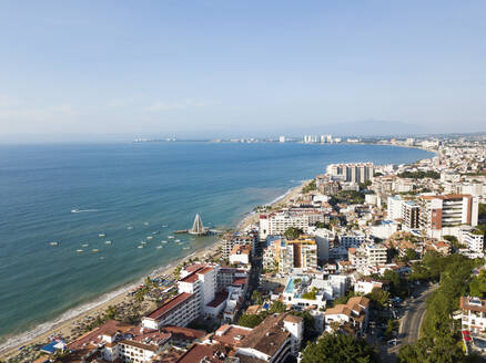 Aerial view of Puerto Vallarta with Los Muertos Pier, Jalisco, Mexico - ABAF02253