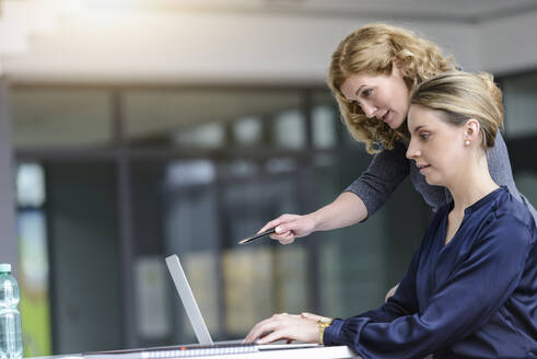 Two women working on laptop in office - BMOF00137