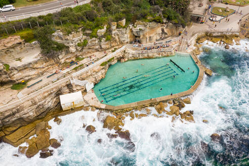 Aerial view above of Bronte Baths public swimming pool, Sydney. Australia. - AAEF06107