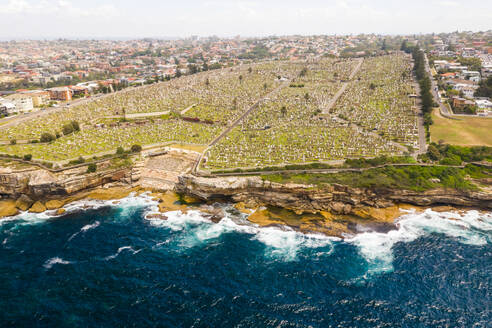 Aerial view of Waverley Cemetery at water edge, Sydney. Australia. - AAEF06110