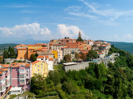 Aerial view of the mountain city of Labin surrounded by nature, Istria, Croatia. - AAEF06236