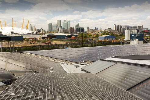Solar thermal and solar PV panels on the roof of the Crystal building - CAVF71898