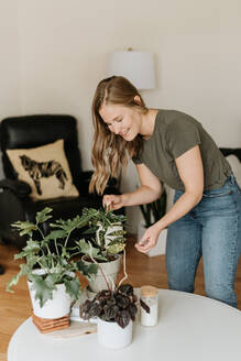 Woman watering house plants - ISF23467