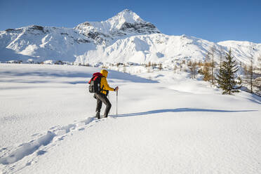 Hiking with snowshoes in the mountains, Valmalenco, Sondrio, Italy - MCVF00132