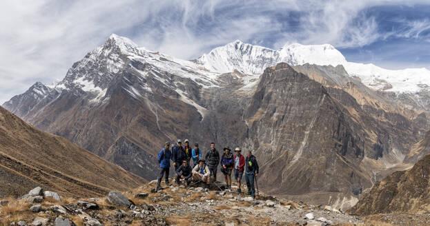 Trekking group at Tsaurabong Peak, Italian Base Camp, Dhaulagiri Circuit Trek, Himalaya, Nepal - ALRF01633