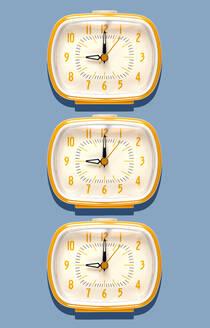 3D Illustration, yellow alarm clocks at nine o'clock on blue background - GEMF03367