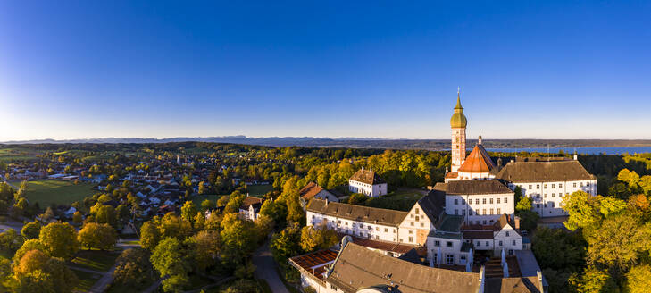 Germany, Bavaria, Upper Bavaria, Pfaffenwinkel, Ammersee, Andechs Abbey at sunrise - AMF07648