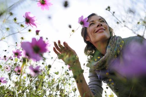 Portrait of women smelling on wild flower, flower meadow - ECPF00792