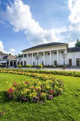 Germany, Baden-Wurttemberg, Baden-Baden, Flowers blooming in garden in front of Casino Baden-Baden - PUF01742