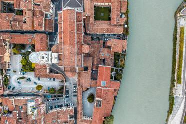 Italy, Veneto, aerial view of Verona and Adige river - DAWF01043