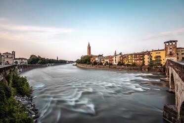 Italy, Veneto, Verona, Ponte Pietra and Adige river - DAWF01058