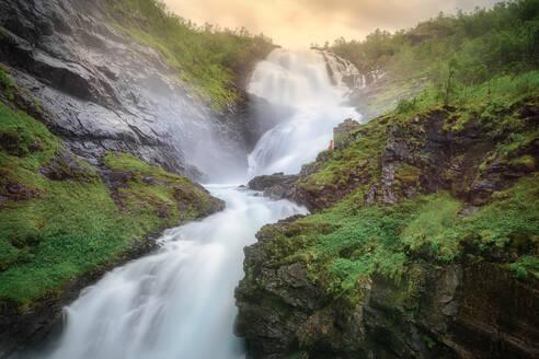 Amazing Kjosfossen waterfall in Flam, Norway, from the Flam railway - CAVF72564