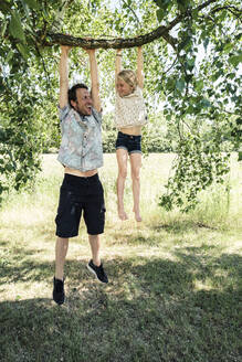 Father and daughter hanging on a branch of a birch tree - WFF00236