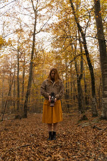 Redheaded young woman taking photo with analogue camera in autumnal forest - AFVF04889