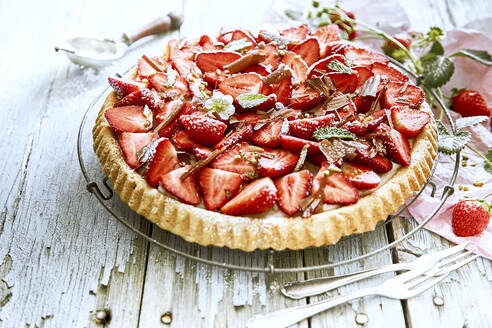 Close-up of homemade strawberry tart - DREF00028