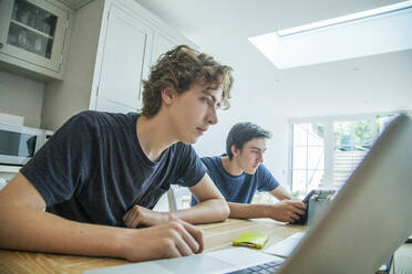 Two teenage boys using laptop and tablet on table at home - AJOF00078