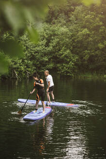 Senior man and woman learning paddleboarding in sea during SUP course - MASF16283