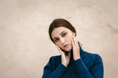 Close up portrait of woman with blue turtleneck pullover - TCEF00016