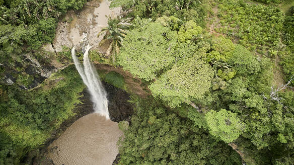 Mauritius, Riviere Noire District, Chamarel, Aerial view of Chamarel Waterfall  - VEGF01411