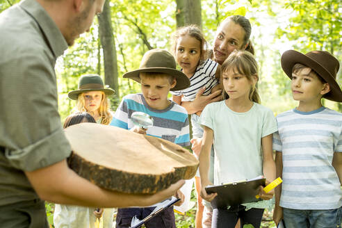 School children examining annual rings of a tree trunk - WESTF24508