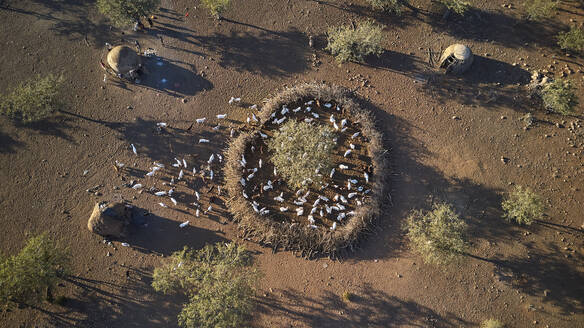 Aerial view of a Himba tribe village around Opuwo, Namibia - VEGF01419