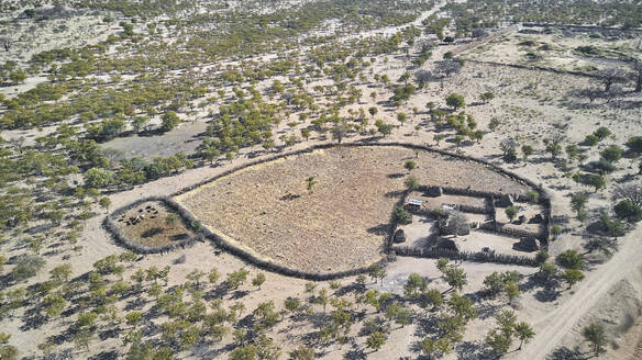 Aerial view of a traditional village in Angola, Cunene river area, Angola - VEGF01463