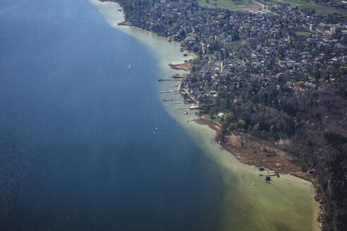 Germany, Bavaria, Schondorf am Ammersee, Aerial view of town on shore of Lake Ammer - DHEF00059