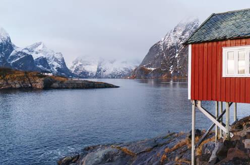 Red stilt hut at the coast, Hamnoy, Lofoten, Norway - DGOF00081