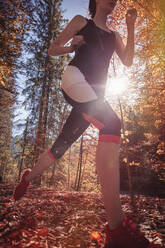 Woman jogging in autumn forest - DHEF00094
