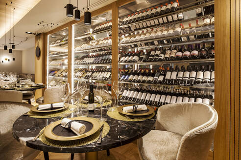 Interior of a fancy restaurant with wine cabinet - VABF02546