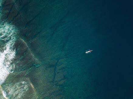Aerial view of banca boat in the Indian Ocean - CAVF74113