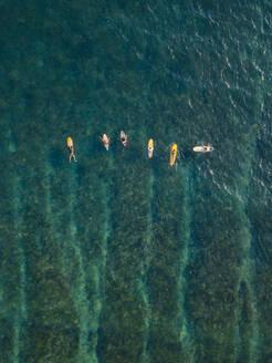 Aerial view of surfers in the ocean - CAVF74122