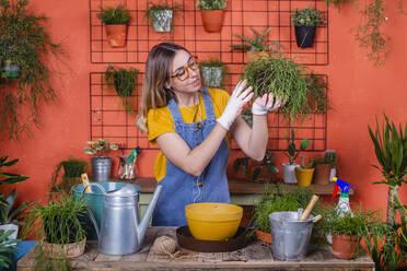 Woman examining Rhipsalis plant on her terrace - RTBF01413