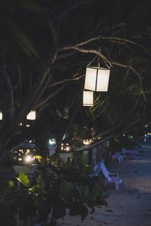 Lamps of a restaurant on the beach, Koh Lanta, Thailand - CHPF00627