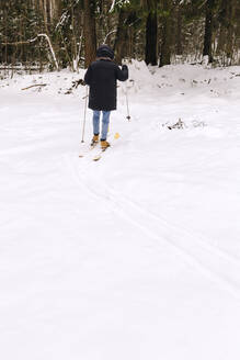 Back view of woman on skis in winter forest - KNTF04180