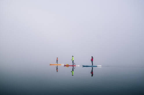 Three people stand up paddle surfing on a lake in the fog - DGOF00297