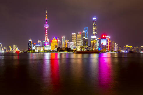 View of Pudong Skyline and Huangpu River from the Bund, Shanghai, China, Asia - RHPLF13821